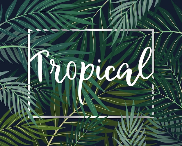 Folhas tropicais sem costura padrão fundo papel de parede