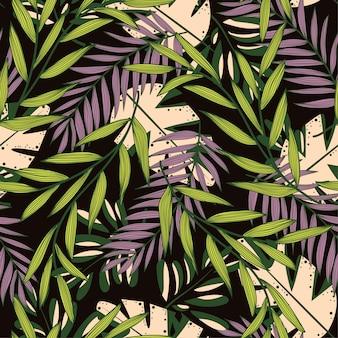 Folhas tropicais sem costura padrão