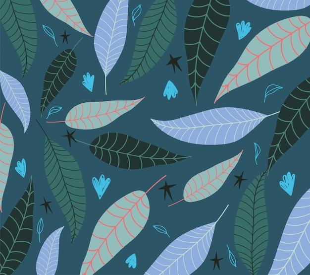 Folhas tropicais textura estrelas exóticas decoração fundo verde