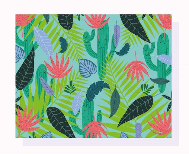 Folhas tropicais textura fundo de folhagem de ramo de cacto exótico