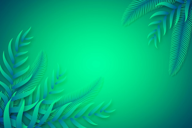 Folhas tropicais verdes copiam o fundo do espaço