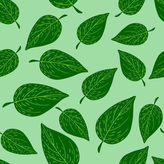 Folhas verdes brilhantes aleatórias ornamento sem emenda no estilo doodle. fundo pastel.