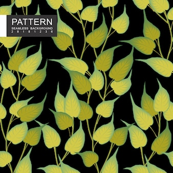 Folhas verdes com padrão floral sem costura de ramos