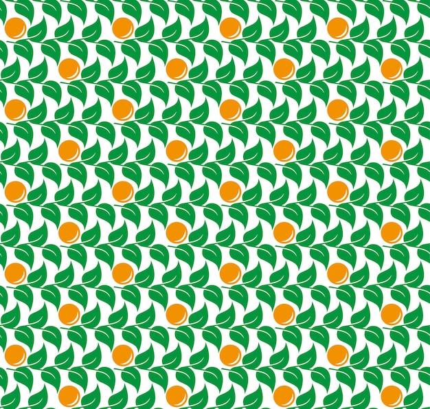 Folhas verdes com padrão sem emenda de vetor de tangerinas laranja.