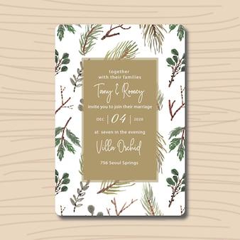 Folhas verdes de convite de casamento com aquarela