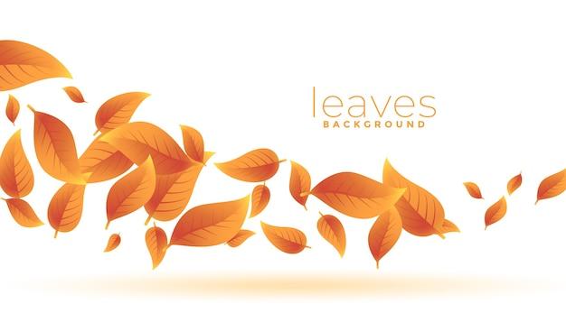Folhas verdes de outono caindo design de fundo