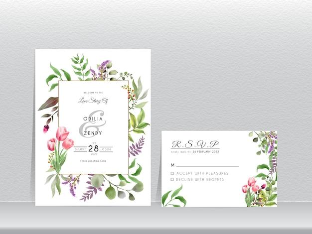 Folhas verdes desenhadas à mão e um lindo modelo de convite de casamento em tulipa
