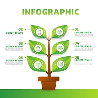 Folhas verdes e infográfico de árvore. diagrama de negócios verdes e modelo.