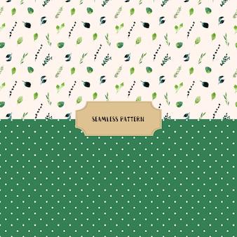 Folhas verdes e pontos padrão sem costura
