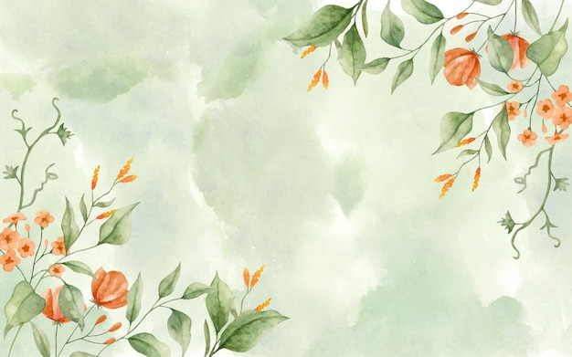Folhas verdes elegantes em aquarela com fundo floral