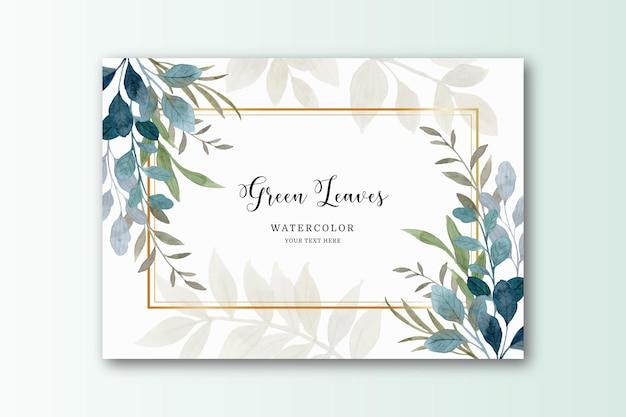 Folhas verdes em aquarela com cartão de moldura dourada