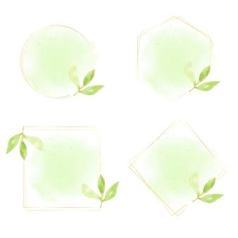 Folhas verdes em aquarela com coleção de moldura de coroa de ouro