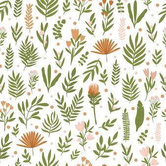 Folhas verdes em um padrão sem emenda de fundo branco padrão para papel de parede de tecido em verde