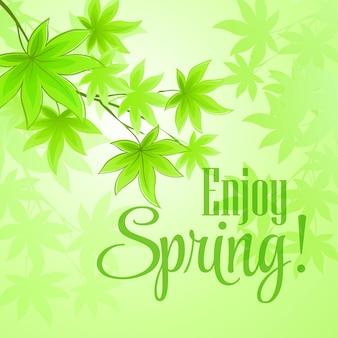 Folhas verdes frescas de primavera. ilustração