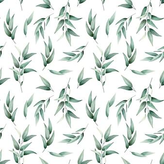 Folhas verdes padrão sem emenda em aquarela design de vetor desenhado à mão de alta qualidade