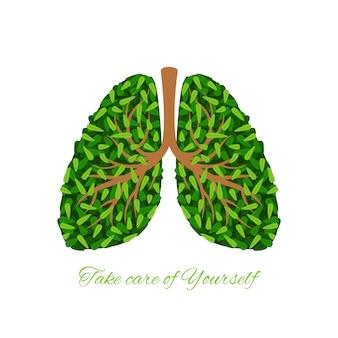 Folhas verdes pulmões