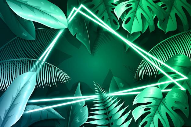Folhas verdes realistas com moldura de néon