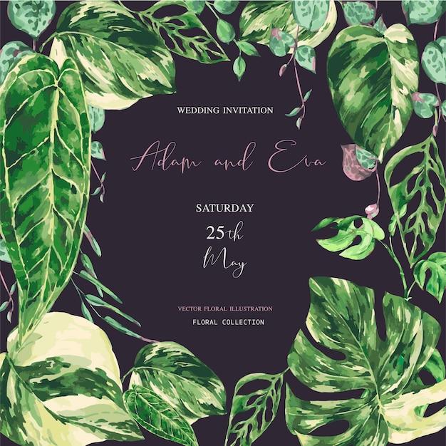Folhas verdes tropicais em aquarela. ilustração de vegetação variada monstera, cartão de casamento botânico