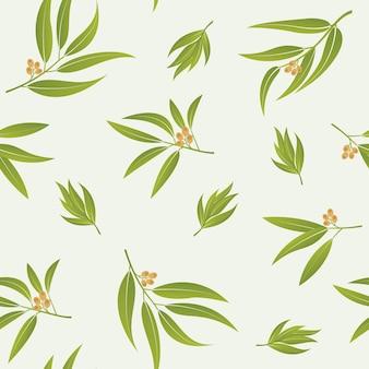 Folhas verdes vetor padrão sem emenda folhas de eucalipto realistas ou ramos tropicais de verão