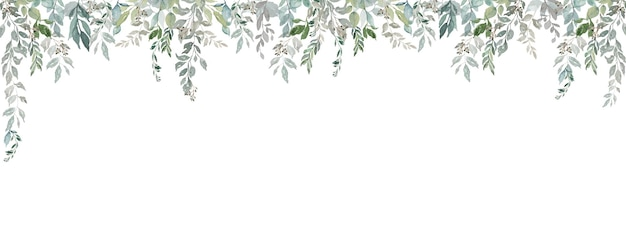 Folhas vintage claras cortina folhagem aquarela moldura larga