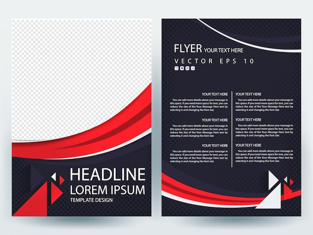 Folheto a4 modelo de layout com curva de linha vermelha