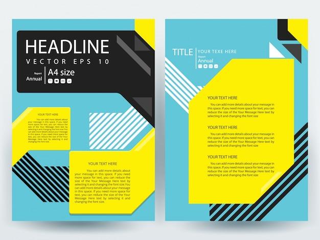 Folheto a4 modelo de layout com geometria preta, amarela e azul