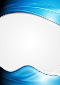Folheto abstrato brilhante com ondas azuis. desenho vetorial