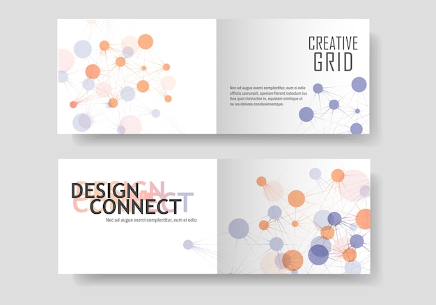 Folheto abstrato conjunto com conexão molecular e rede de tecnologia