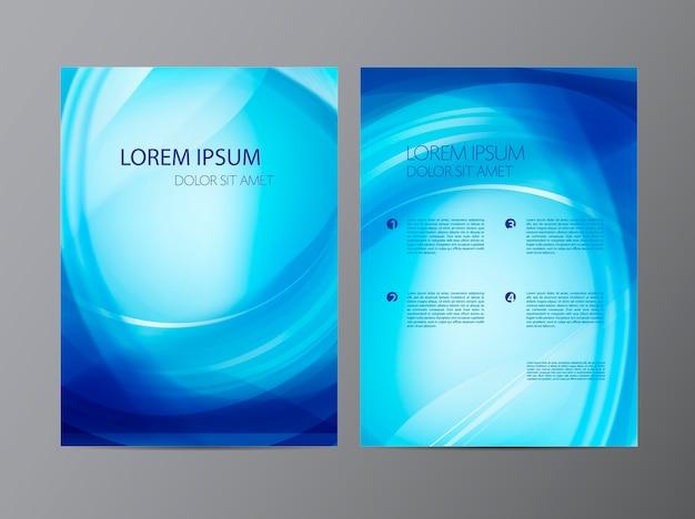 Folheto abstrato moderno ondulado azul ondulado, brochura