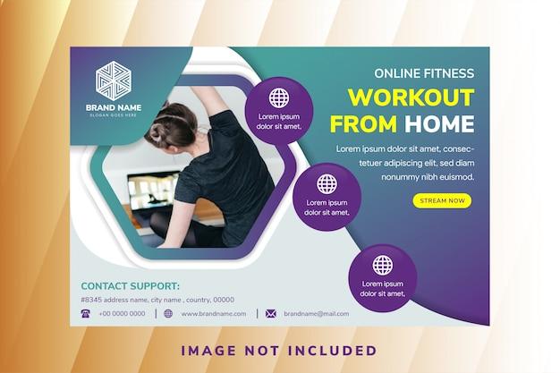 Folheto abstrato para cross fit gym, modelo de design genérico com layout horizontal e espaço hexágono para foto.
