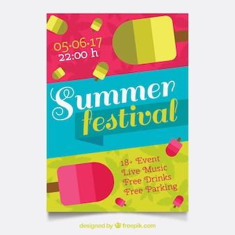 Folheto alegre com sorvete de festival de verão