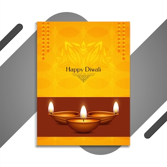 Folheto amarelo abstrato do happy diwali festival