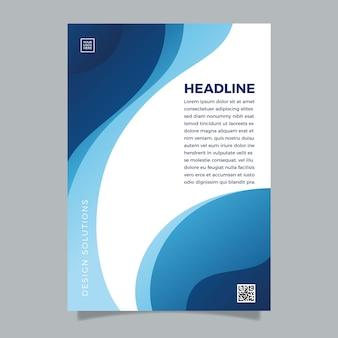Folheto azul clássico abstrato de modelo