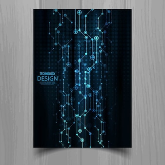 Folheto azul da tecnologia