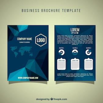 Folheto azul do negócio com formas geométricas decorativas