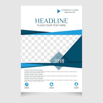 Folheto azul e branco flyer design modelo de layout