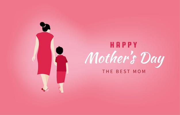 Folheto, banner ou cartaz de feliz dia das mães, mãe segurando a mão do filho.