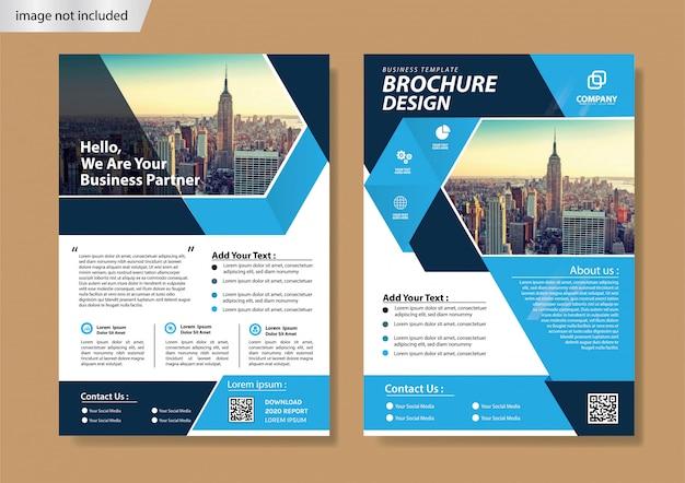 Folheto capa azul e modelo de brochura para o relatório anual