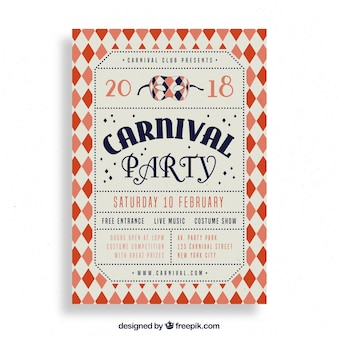 Folheto / cartaz do partido do carnaval do vintage