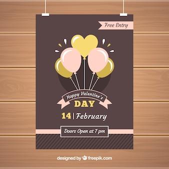 Folheto / cartaz plano do dia dos namorados