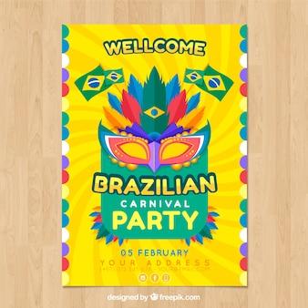 Folheto / cartaz plano do partido de carnaval brasileiro