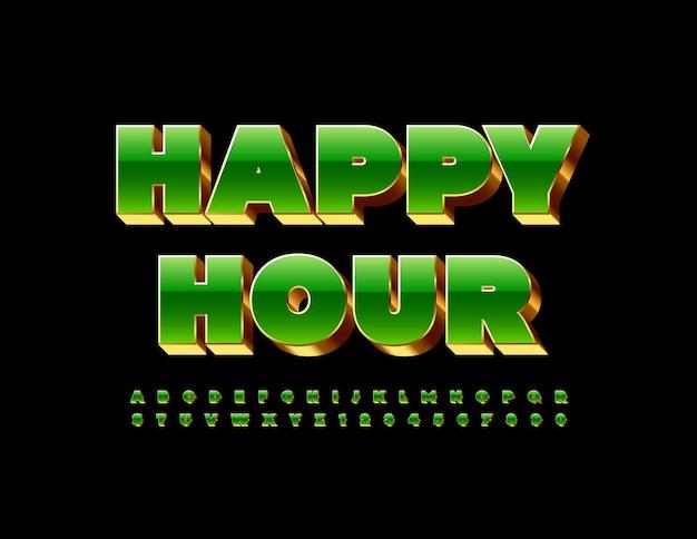 Folheto chique de vetor happy hour 3d green e gold font luxo conjunto de letras e números do alfabeto