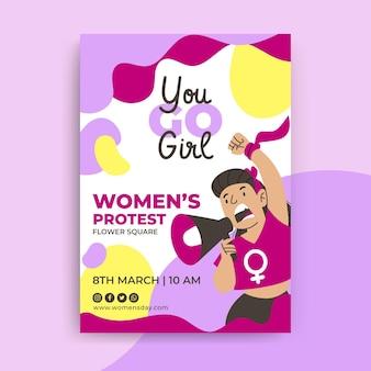 Folheto colorido abstrato do dia da mulher