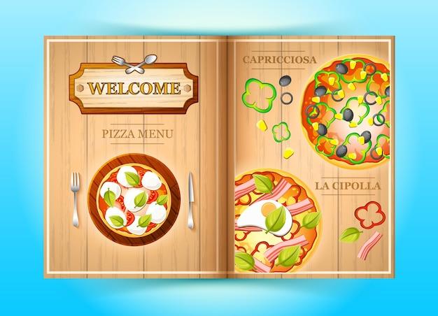 Folheto colorido do menu de pizza com vegetais, azeite, milho, pimenta e ilustração de ingredientes de tomate