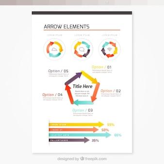 Folheto com elementos de seta infográfico