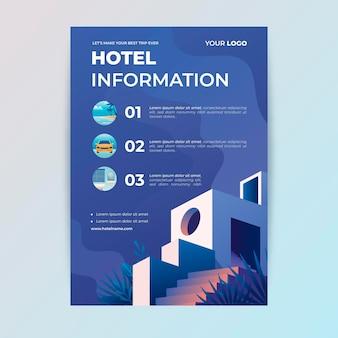 Folheto com informações sobre hotéis planos
