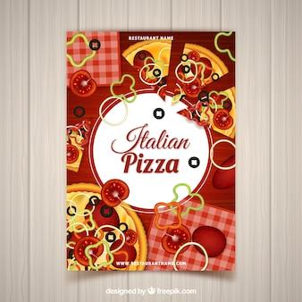 Folheto com ingredientes de pizza