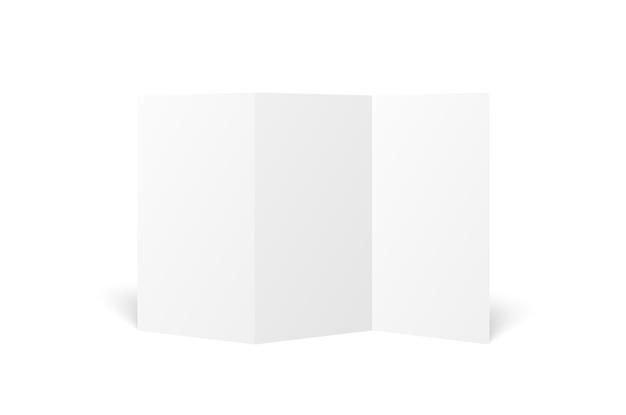Folheto com três dobras branco em branco aberto