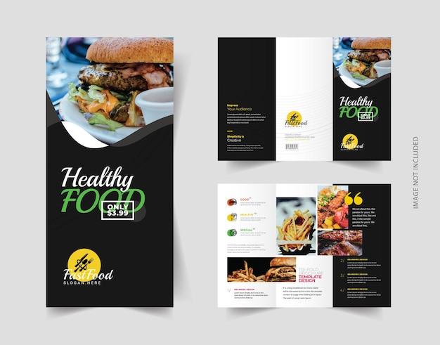Folheto com três dobras de comida e restaurante