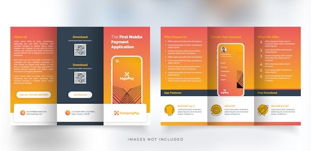 Folheto com três dobras do aplicativo móvel